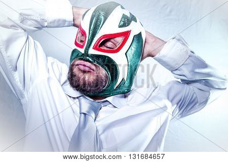 worker, angry businessman with Mexican wrestler mask, expressions of anger and rage