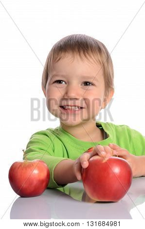 Cute Child With Red Apples Isolated On White Background