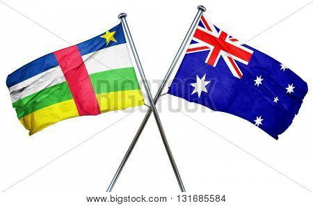 Central african republic flag  combined with australian flag