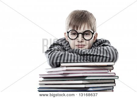 Educational Thema: spassig Teenager mit Büchern. isolated over white Background.