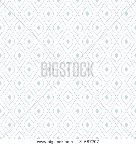 Geometric repeating vector ornament with diagonal dotted lines. Seamless abstract modern pattern. Light blue and white pattern