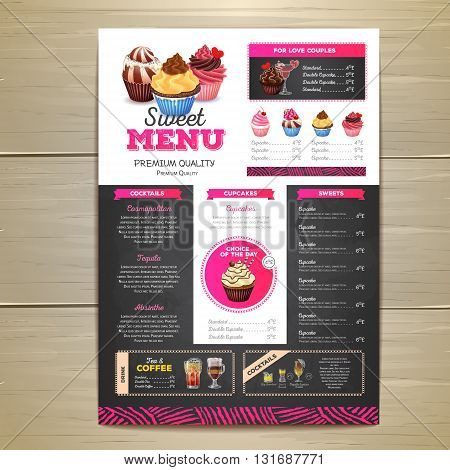Vintage Chalk Drawing Dessert Menu Design. Sweet Cupcake