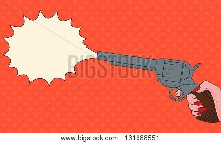Pop art illustration with female hand with a gun with bubble shot for your creativity