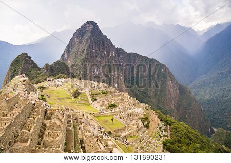 Machu Picchu: Dark clouds announce the comming rain at Peru's infamous Inca city