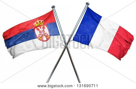Serbia flag  combined with france flag