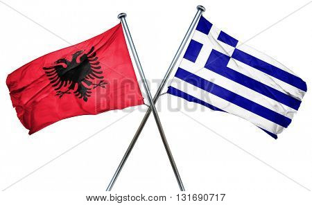 Albania flag  combined with greek flag