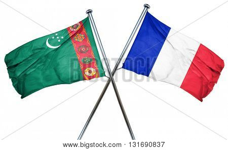 Turkmenistan flag  combined with france flag