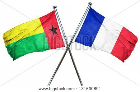 Guinea bissau flag  combined with france flag