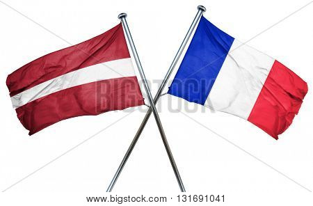 Latvia flag  combined with france flag