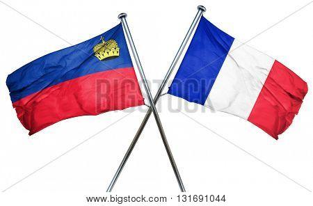 Liechtenstein flag  combined with france flag