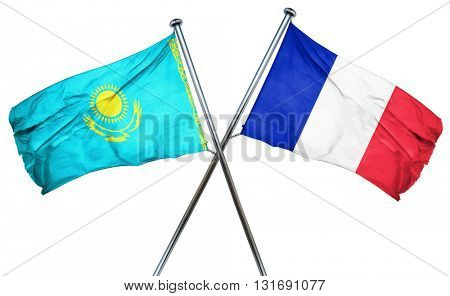 Kazakhstan flag  combined with france flag