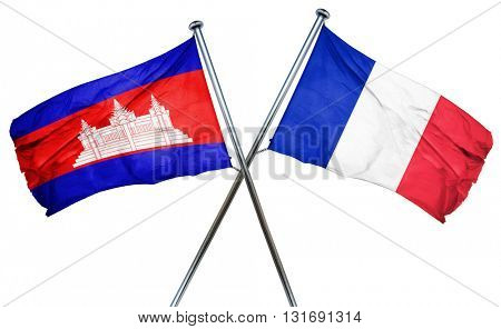 Cambodia flag  combined with france flag