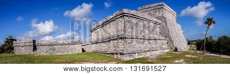 Panorama of Tulum maya ruins in Yucatan, Mexico
