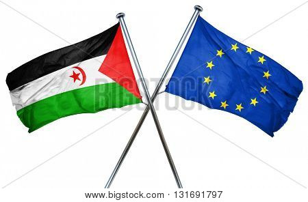 Western sahara flag  combined with european union flag