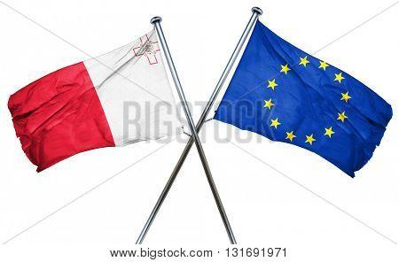 Malta flag  combined with european union flag