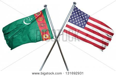 Turkmenistan flag with american flag, isolated on white backgrou