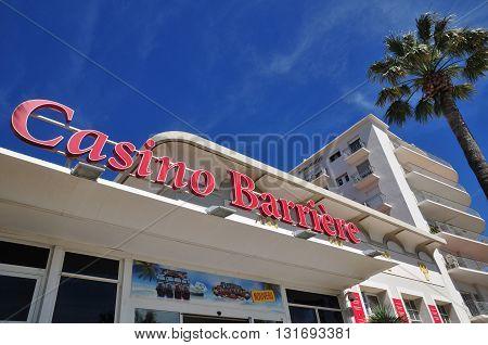Saint Raphael; France - april 14 2016 : casino in the seaside street
