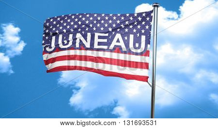juneau, 3D rendering, city flag with stars and stripes