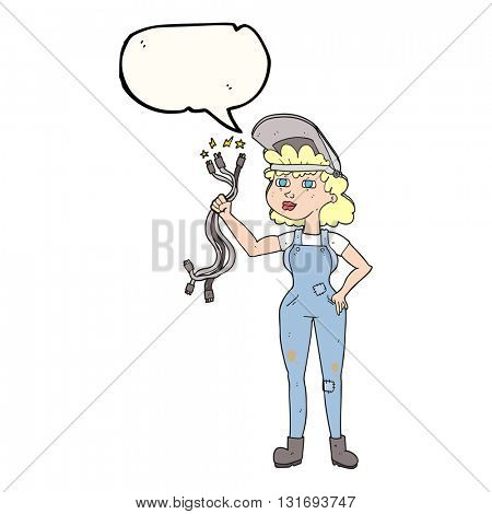 freehand drawn speech bubble cartoon electrician woman