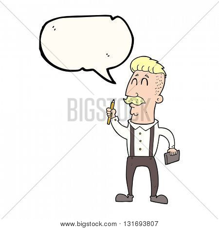 freehand drawn speech bubble cartoon man with notebook