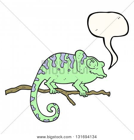 freehand drawn speech bubble cartoon chameleon