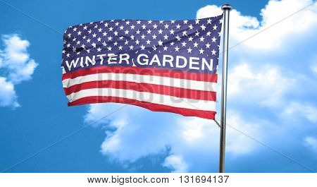 winter garden, 3D rendering, city flag with stars and stripes
