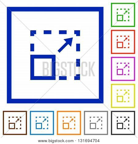 Set of color square framed maximize element flat icons