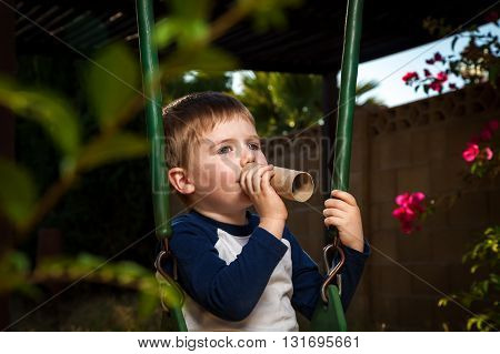 A young boy sits on a swing and plays with the empty cardboard tube of a toilet paper roll. He holds it to his mouth like a trumpet. He speaks through it like a megaphone.