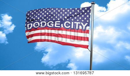 dodge city, 3D rendering, city flag with stars and stripes