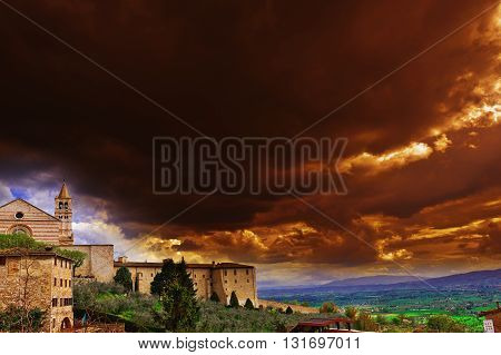 View from Historic Center City of Assisi to the Surrounding Valley at Sunset