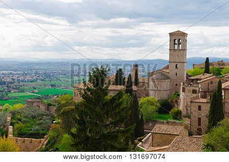 View from Historic Center City of Assisi to the Surrounding Valley