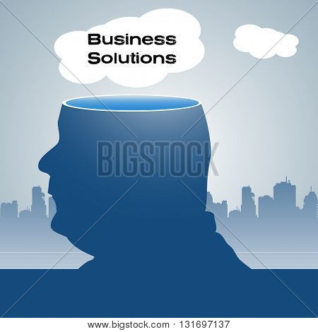 Abstract colorful background with a man with his head sliced off and a white cloud with the text business solutions floating above his head