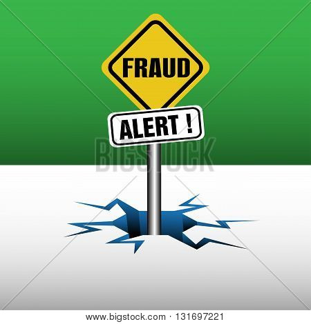 Abstract colorful background with two plates with the text fraud alert coming out from an ice crack