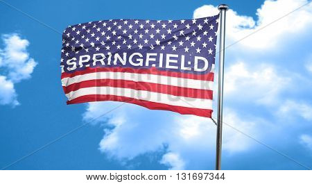 springfield, 3D rendering, city flag with stars and stripes