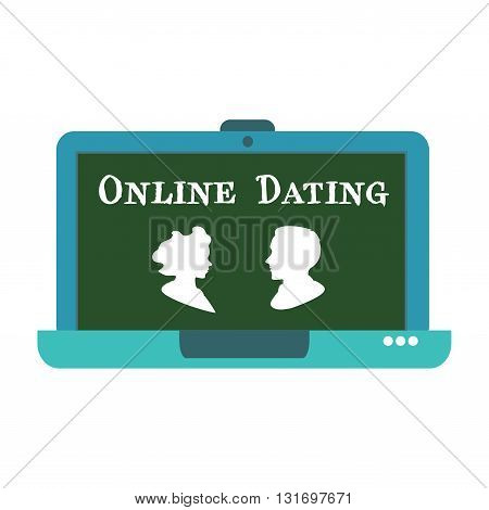 Isolated laptop with a man and a woman and the text online dating written with white letters