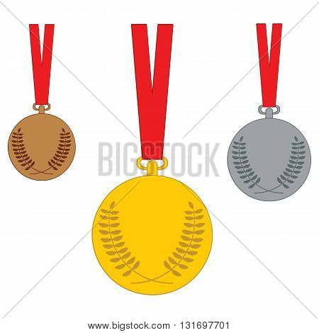 Gold Silver Bronze medal. Set of medal icons. Vector illustration isolated on white background.
