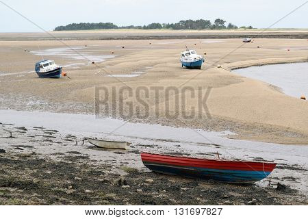 Low tide in Wells-next-the-sea in Norfolk England