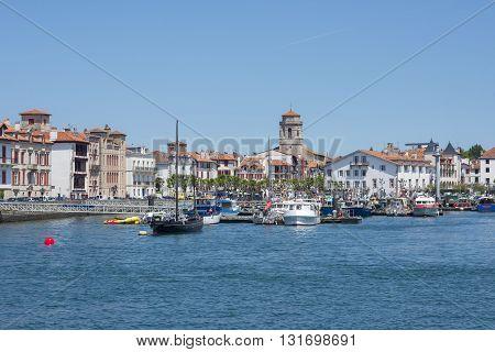 Boats In Saint-jean De Luz - Ciboure Harbour. Aquitaine, France.