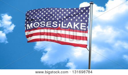 moses lake, 3D rendering, city flag with stars and stripes