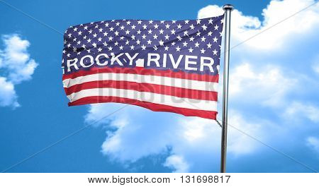 rocky river, 3D rendering, city flag with stars and stripes