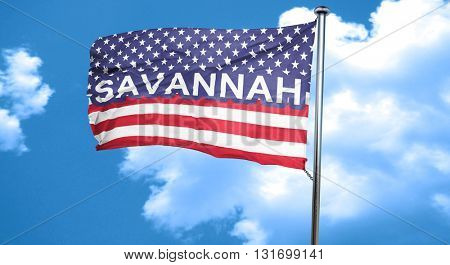 savannah, 3D rendering, city flag with stars and stripes