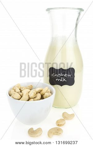 Cashew Milk And Cashews,  On White Background