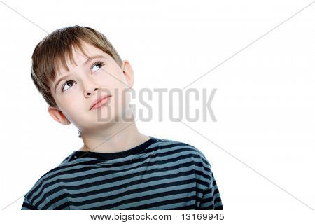 Educational theme: boy teenager. Isolated over white background.