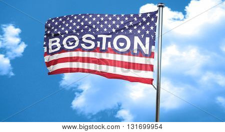 boston, 3D rendering, city flag with stars and stripes