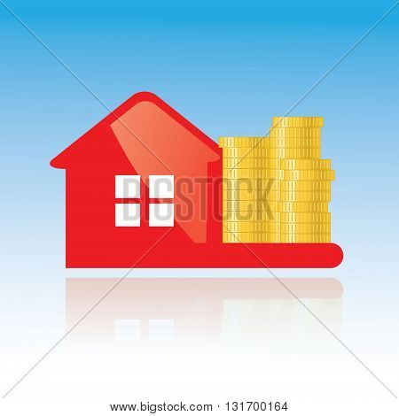 Red glance house and golden coins vector icon. Investing banking financial credit real estate concept illustration