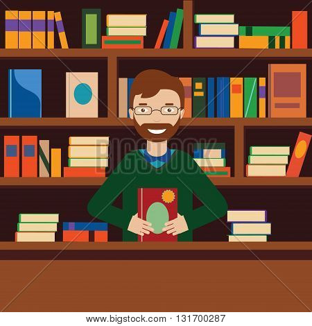 Young man on background with books shelves. Librarian or bookstore seller vector illustration
