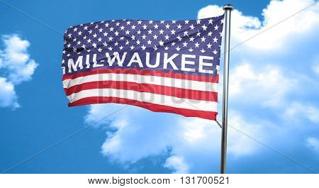 milwaukee, 3D rendering, city flag with stars and stripes