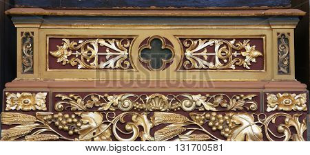 STITAR, CROATIA - AUGUST 27: The altar decoration on altar of St. Anthony the Great in the church of Saint Matthew in Stitar, Croatia on August 27, 2015