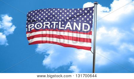 portland, 3D rendering, city flag with stars and stripes