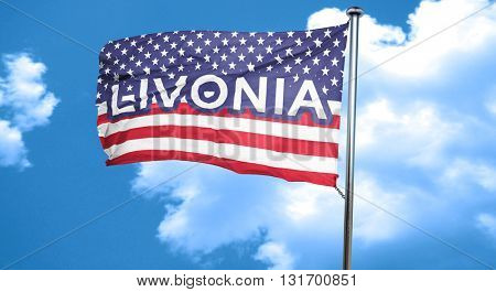 livonia, 3D rendering, city flag with stars and stripes